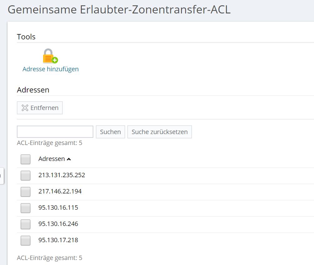 Gemeinsame Erlaubter-Zonentransfer-ACL